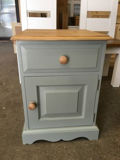 A Traditional Pine Bedside Table. Painted In Fu0026B Pigeon With A Pine Top And  Knobs