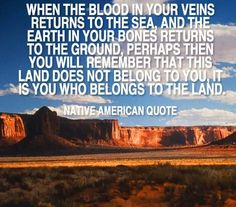 When the blood in your veins returns to the sea, and the earth in your bones returns to the ground, perhaps then you will remember that this land does not belong to you, it is you who belongs to the land.  ~Native American Quote