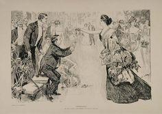 1901 Charles Dana Gibson Girl Fancy Ball Suitors Print - ORIGINAL GIBSON