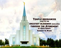 Temple ordinances lead to the greatest blessings available through the #atonement of Jesus #Christ. Rosemary M. Wixom