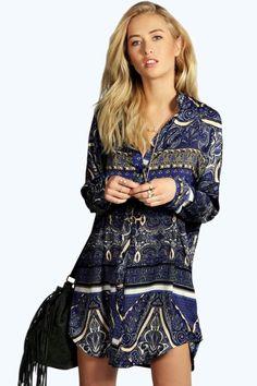Ana Woven Paisley Print Shirt Dress