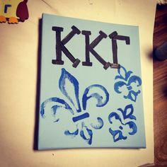 Gift Ideas | Kappa Kappa Gamma | Blue on blue fleur de lies canvas |