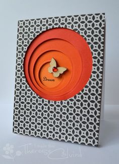 handmade card ... asymmetric layered circles  ... tiny black and white print paper ... luv it!