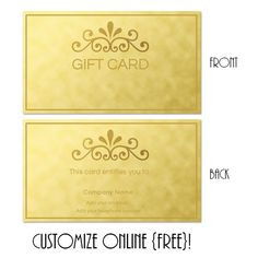 Free Printable Gift Card Templates That Can Be Customized Online. Instant  Download. You Can  Personalized Gift Certificates Template Free