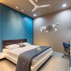 Image may contain: bedroom and indoor Wardrobe Design Bedroom, Bedroom Furniture Design, Modern Bedroom Design, Master Bedroom Design, Bad Room Design, Home Room Design, Bed Back Design, Pc Table, Bedroom False Ceiling Design