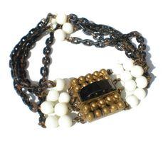 Black & White Bracelet Multi-Strand Chain Japanned by RibbonsEdge