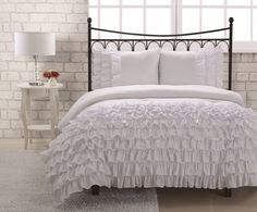 white ruffle comforter | ... princess this exquisite comforter set which features waterfall ruffles