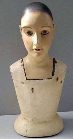 Antique Mannequin Bust - Hat, Millinery - 18 Inches tall.