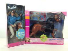 Horse Riding BARBIE 2000 + Dixie Brushable Beauties Horse 1999 Mattel #Mattel #Dollwithhorse