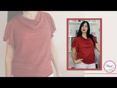 #50 TÉCNICA FÁCIL PARA CUELLO DRAPEADO Y MANGAS AL VUELO/Paso a paso - YouTube High Neck Dress, T Shirts For Women, Youtube, Sleeves, Tops, Dresses, Craft, Easy, Fashion