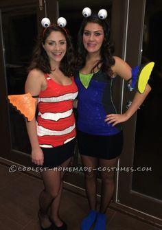 Cool Finding Nemo Costumes... Nemo And Dory Costume, Finding Nemo Costume, Sea Costume, Fish Costume, Best Friend Halloween Costumes, Disney Halloween, Halloween Duos, Halloween College, Halloween Parade