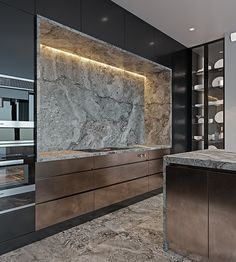 Luxury modern apartment with round chandeliers - Modern Kitchen Modern Kitchen Interiors, Luxury Kitchen Design, Kitchen Room Design, Contemporary Kitchen Design, Kitchen Cabinet Design, Luxury Kitchens, Home Decor Kitchen, Interior Design Kitchen, Kitchen Ideas