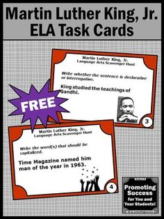 FREE Martin Luther King, Jr. is the theme of these printable language arts task cards. These cards make a great multi-disciplinary approach to learning and are a great alternative to literacy worksheets! In these six task cards, your student will practice the following language arts skills:  Commas Verbs Adverbs Articles Capitalization Types of Sentences