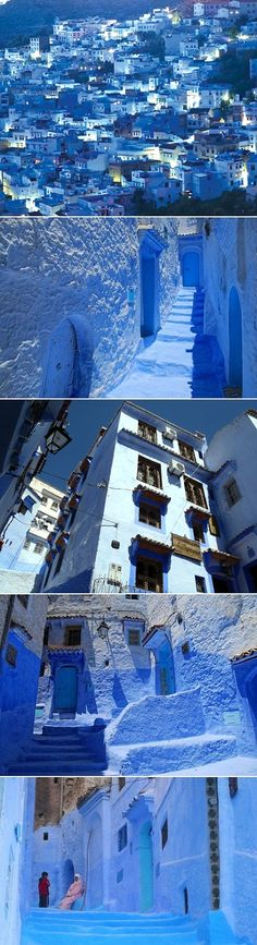 morocco's blue town. blue gem called Chefchaouen in Morocco, has the most romantic little cobblestoned streets full of authentic Moroccan cafés. the whole town is situated on a backdrop of the Rif Mountains.