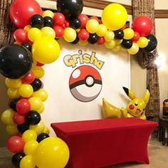 Happiest birthday to handsome Grisha cutouts by balloons b. Pokemon Themed Party, Pokemon Birthday Cake, Pokemon Party Decorations, Birthday Party Decorations, Festa Pokemon Go, Pokemon Pokemon, Pokemon Fusion, Pokemon Cards, Pikachu