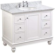 Bella Bathroom Vanity (Carrara/White): Includes White Cabinet with Authentic Italian Carrara Marble Countertop and White Ceramic Sink 42 Inch Bathroom Vanity, Hall Bathroom, Basement Bathroom, Master Bathroom, Gray Vanity, Vanity Set, Gray Shower Tile, Traditional Baths, Traditional Bathroom