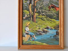Vintage paint by number fisherman in the stream by charliesnest, $36.00