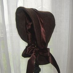 Hat Baby's Winter Victorian Bonnet with Long Neck Cover Brown  3 to 15 months - pinned by pin4etsy.com
