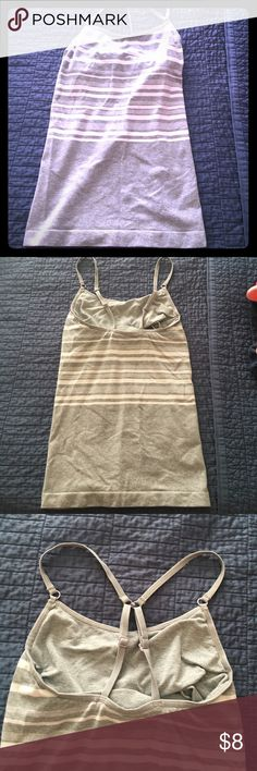 Athleta fitted cami Grey/white stripe Athleta cami with shelf bra. Back straps can be crossed to be racerback Athleta Tops Camisoles