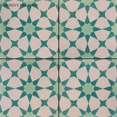 Agadir Vert Clair from cement tile shop Cement Tiles Bathroom, Art Deco Bathroom, Agadir, Patchwork Tiles, Encaustic Tile, Painted Floors, Tile Patterns, Tile Design, Handmade Shop