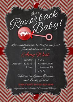 Razorback baby shower invitation printable PDF by MissMurrayDesign