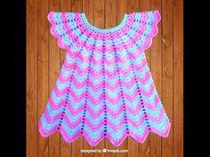 Детское ажурное платье-вязание крючком.Платье узором-волна.Вяжем круглую кокетку Платье на малышку - YouTube