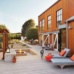 Backyard at Shasta House// Deck + firepit = pure love