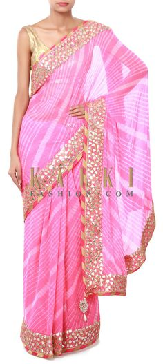 Buy Online from the link below. We ship worldwide (Free Shipping over US$100). Product SKU - 315814. Product Price - $279.00. Product link - http://www.kalkifashion.com/pink-leheriya-saree-adorn-in-gotta-patch-embroidery-only-on-kalki.html