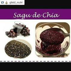 #Repost @gleid_nutri with @repostapp  Sagu de chia Ingredientes :  Suco de uva integral  Chia Obs : Para cada 100 ml de suco 2 colheres de chia Modo de preparo : coloque em um recipiente de vidro o suco integral a chia e mexa bem. Deixe a mistura na geladeira por 24 horas. Nesse tempo mexa algumas vezes para deixar a chia bem soltinha. Dica: Consuma nas frutas iogurte sucos... #receita #receitasaudavel #receitanutritiva #receitadasemana #receitaleve #receitalight #sagu #sagudechia #chia…