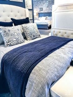 Navy and white bedding blue master bedroom furniture, navy master bedroom, bedroom orange, Navy Blue Bedrooms, Blue Master Bedroom, Blue Bedroom Decor, Bedding Master Bedroom, Bedroom Colors, Bedroom Ideas, Blue And Grey Bedding, Bedroom Designs, Navy Home Decor