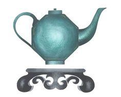 Asian Octagonal Teapot Wall Stencil by DeeSigns