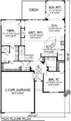 First Floor Plan of Ranch House Plan 97191