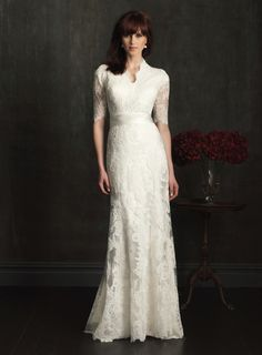 Buy Vintage Scooped Lace Bridal Gown with Half Sleeves Online, newbridalup.Com offer high quality fashionVintage Scooped Lace Bridal Gown with Half Sleeves,Price: US$208.59