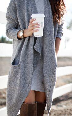 #fall #outfits women's heather-gray long cardigan