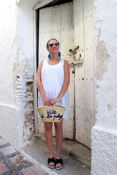 Heartfelt Hunt - Tassel Earrings - Tassel earrings, white summer dress, Ray-Ban sunglasses, basket bag, espadrille sandals and blond dutch braided low bun - Summer Fashion and cute Maternity Style / Pregnancy Style