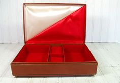 Vintage Saddle Brown Leatherette Jewelry Box with by DivineOrders, $39.00