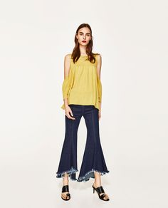ZARA - WOMAN - FRILLED TOP WITH CUT-OUT SHOULDERS