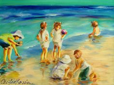 Original painting of CHILDREN AT the BEACH by CECILIA ROSSLEE