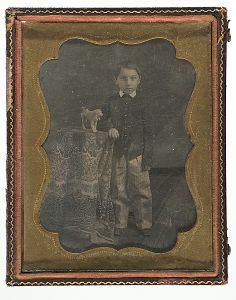 Quarter Plate Daguerreotype of a Boy and His Toy Dog - Cowan's Auctions
