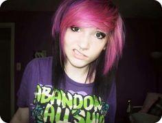 emo girl black and pink hair