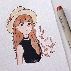 itsvivieri- Simple lady 🍂👒 - My Drawing - itsvivieri - Pencil Art Drawings, Art Drawings Sketches, Disney Drawings, Cute Drawings, Simple Cartoon Drawings, Hipster Drawings, Drawing Disney, Disney Sketches, Marker Kunst