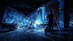 CRYSTALLIZED is an immersive sculpture made of steel, sounds and holographic visuals. Inspired by the chemical element of Bismuth and built from the physics laws… Hologram Projection, Projection Mapping, Interactive Projection, Interactive Art, Physics Laws, Holographic Film, Different Points Of View, Bismuth, Fictional World