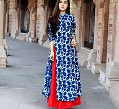 Indigo/White Kurta (Anarkali/Straight) with Red Palazzo Kurti Patterns, Dress Patterns, Kurta Designs, Blouse Designs, Mehndi, Henna, Indian Dresses, Indian Outfits, Girl Fashion