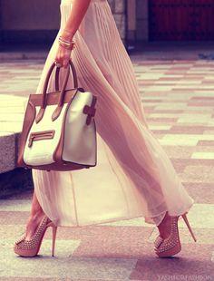 fashforfashion -♛ STYLE INSPIRATIONS♛ high heels, oversize bag, maxi skirt