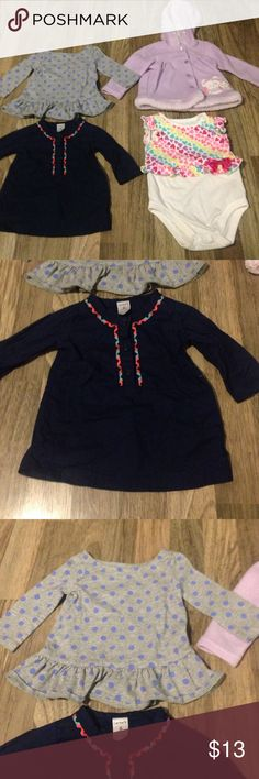 ⭐️girl lot⭐️ long sleeve shirts onesie and jacket ⭐️girl lot⭐️ 2 long sleeve shirts, onesie and jacket! The navy shirt is: Carter's 6 month. The grey and blue is: baby gap 3-6 month. Purple owl jacket: kidgets 3-6 month. And onesie is: garanimals 3-6 month! Carter's Shirts & Tops