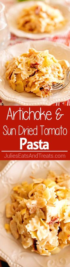 Artichoke and Sun Dried Tomato Pasta ~ Creamy, Delicious Pasta Loaded with Artichokes and Sun Dried Tomatoes! Quick, Easy Dinner Recipe That's Ready in 20 Minutes!