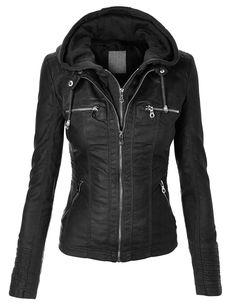 MBJ Womens Faux Leather Zip Up Moto Biker Jacket With Hoodie