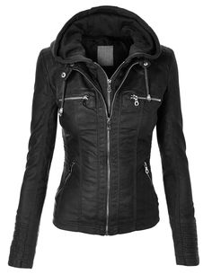 MBJ Womens Faux Leather Zip Up Moto Biker Jacket With Hoodie