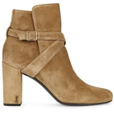 Saint Laurent Fawn suede ankle boots (£685) ❤ liked on Polyvore featuring shoes, boots, ankle booties, high heel booties, ankle strap boots, strappy ankle boots, high heel boots and suede bootie