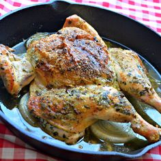 Whole chicken is baked with chimichurri, an Argentinian sauce of fresh herbs, spices, and olive oil, to make this beautiful gourmet dinner. Gourmet Chicken, Roast Chicken Recipes, Roasted Chicken, Spatchcock Chicken, Food Dishes, Main Dishes, Perfect Roast Chicken, Chimichurri, Cooking Recipes